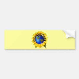Paz de mundo del girasol pegatina de parachoque