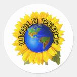 Paz de mundo del girasol etiquetas redondas