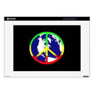Paz de mundo en negro skins para 38,1cm portátiles