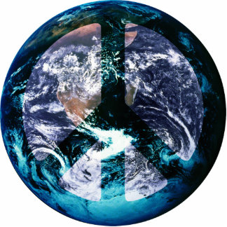 Paz de mundo fotoescultura vertical