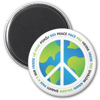 Paz de mundo imán redondo 5 cm