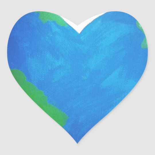Paz de mundo pegatina en forma de corazón