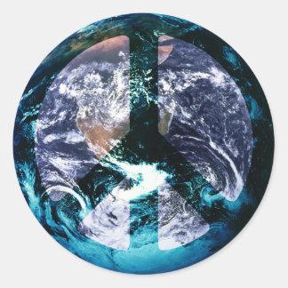 Paz de mundo pegatina redonda