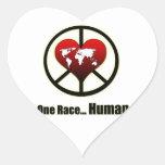 Paz de mundo pegatinas corazon