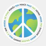 Paz de mundo pegatinas redondas