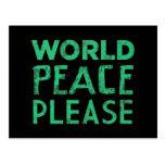 Paz de mundo por favor tarjeta postal