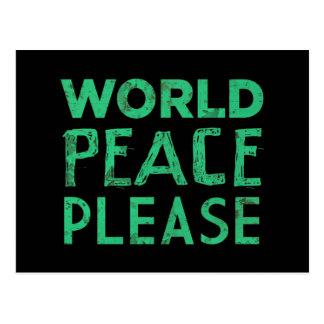 Paz de mundo por favor tarjetas postales