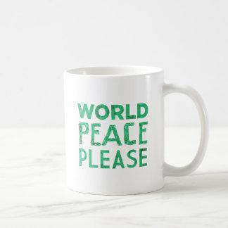 Paz de mundo por favor taza de café