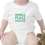 Paz de mundo por favor traje de bebé