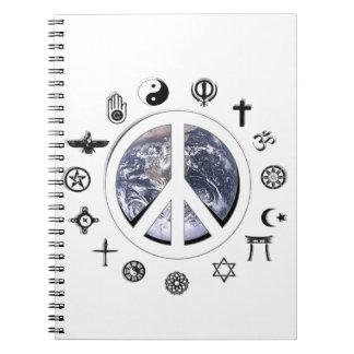 Paz de mundo spiral notebook