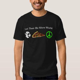 Paz de mundo y pedazo de camiseta de la pizza poleras