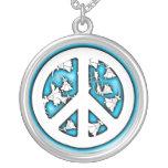 Paz de neón blanca y azul colgantes