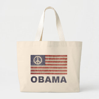 Paz de Obama del vintage Bolsa Tela Grande