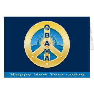 Paz de Obama Goldstar, Feliz Año Nuevo 2009, real Tarjeta De Felicitación
