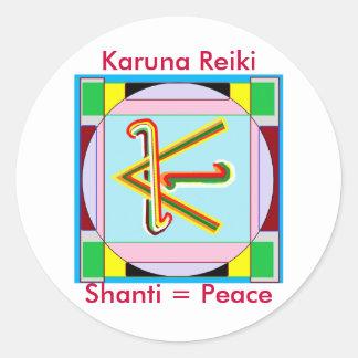Paz de Shanti es decir: Símbolo curativo de Karuna Pegatina Redonda