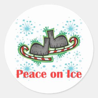 Paz de SkateChick en el hielo Pegatina Redonda