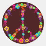 Paz de Skully del flower power Pegatina Redonda