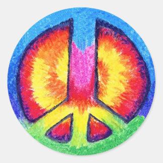 Paz de Tie Dyed Pegatina Redonda