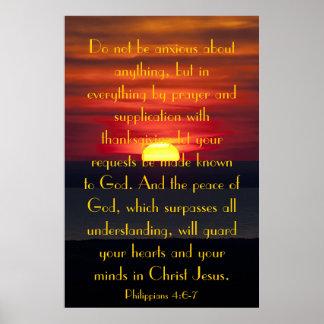 Paz del 4:6 de Philipians del verso de la biblia Póster