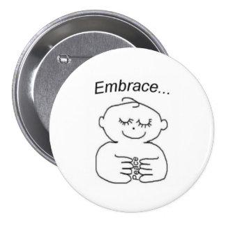 Paz del abrazo - botón pin redondo de 3 pulgadas