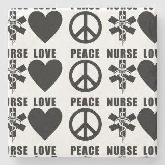 Paz del amor de las enfermeras posavasos de piedra