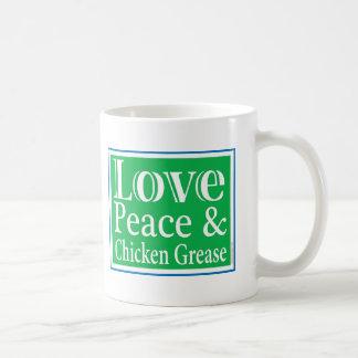 Paz del amor y taza de la grasa del pollo