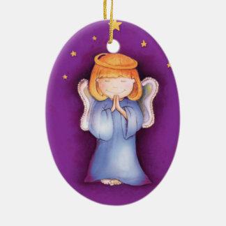 Paz del ángel del navidad, ornamento de la púrpura adorno navideño ovalado de cerámica