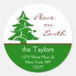 Paz del árbol de navidad en etiquetas de dirección etiqueta redonda