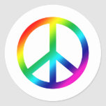Paz del arco iris etiqueta redonda