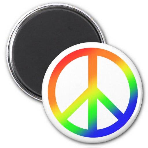 Paz del arco iris imán de frigorífico