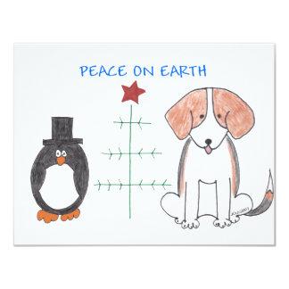 """Paz del beagle en la tierra invitación 4.25"""" x 5.5"""""""