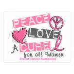 PAZ del cáncer de pecho, AMOR, una CURACIÓN 1 Postal