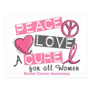 PAZ del cáncer de pecho, AMOR, una CURACIÓN 1 Tarjetas Postales