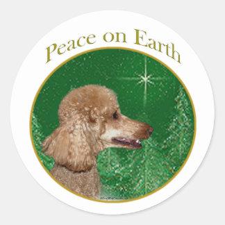Paz del caniche pegatina redonda
