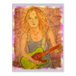 Paz del chica de la guitarra en la tierra postales