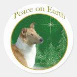 Paz del collie en la tierra etiquetas redondas