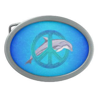 Paz del delfín hebilla de cinturon oval