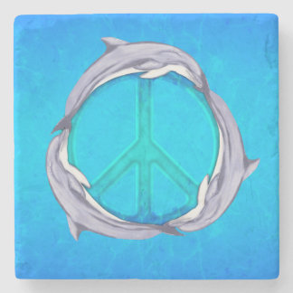 Paz del delfín posavasos de piedra
