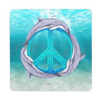 Paz del delfín posavasos de puzzle