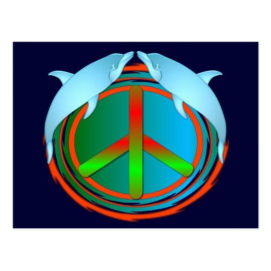 Paz del delfín tarjeta postal