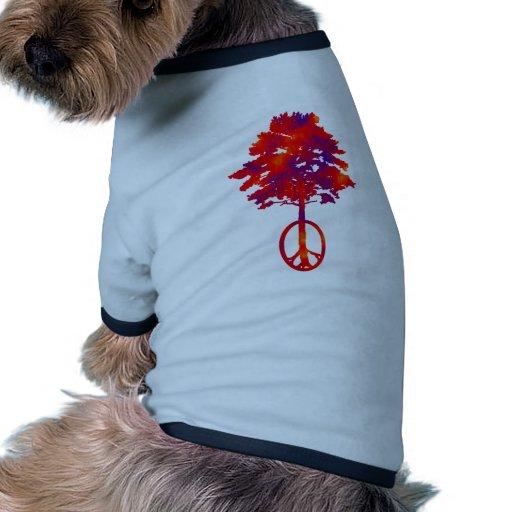 Paz del fieltro del corazón camisetas de mascota