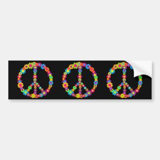 Paz del flower power etiqueta de parachoque