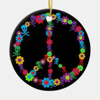 Paz del flower power de Skully Ornamentos De Reyes Magos