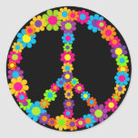 Paz del flower power etiquetas redondas
