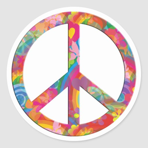 Paz del flower power pegatina redonda