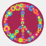 Paz del flower power pegatinas redondas