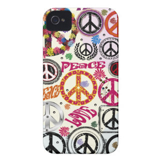 Paz del flower power y caso del iPhone del Hippie  Case-Mate iPhone 4 Cárcasas