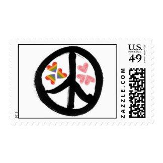 Paz del franqueo de los corazones sellos postales
