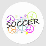 Paz del fútbol etiqueta redonda