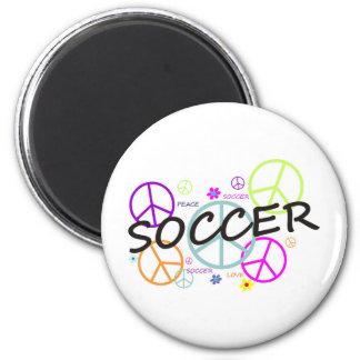 Paz del fútbol imán de frigorífico